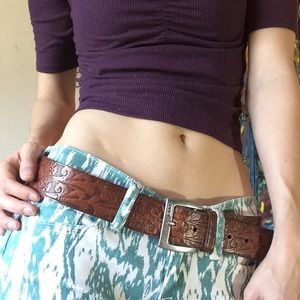 RLL Ralph Lauren Paisley Embossed Leather Belt
